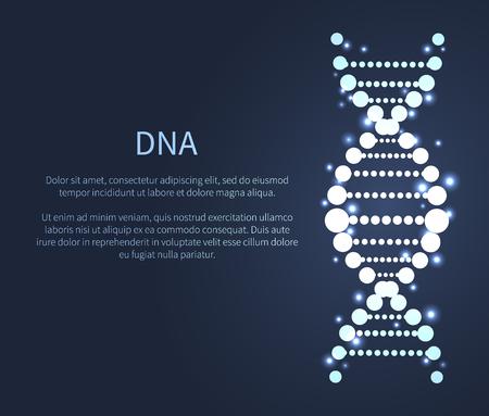Icono brillante de ADN, cadena de ácido desoxirribonucleico