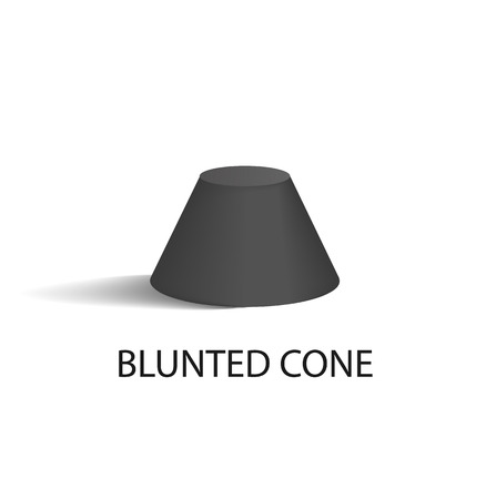 Blunted Cone Isolated Geometric Figure in Black Illustration