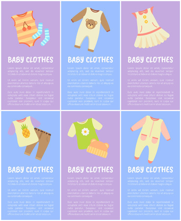 Baby Clothes, Set of Six Vector Colorful Posters