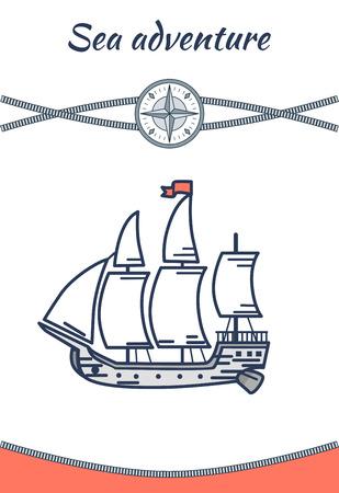 Sea Adventure and Twisted Rope, Colorful Poster Ilustração