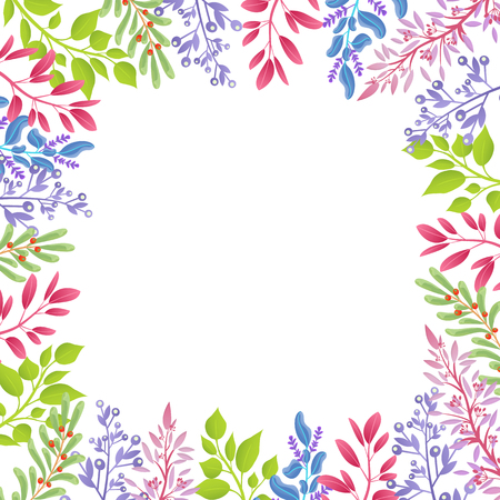 Branches of Spring Plants As Frame for Banner  イラスト・ベクター素材