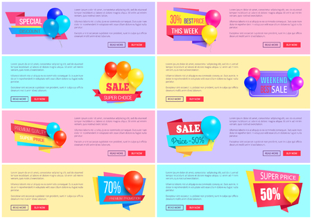 Special Discount Weekend Sale Best Balloons Label Illustration