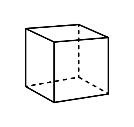 Cube Isolated Geometric Figure of Black Projection
