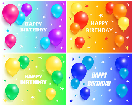 Happy Birthday Backgrounds with Glossy Balloons