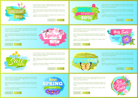 Set of Spring Sale Advert Tags Labels Daisy Flower