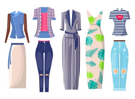 Summer Mode Set of Items, Vector Illustration
