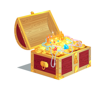 Heavy Wooden Chest Full of Ancient Gold Treasures