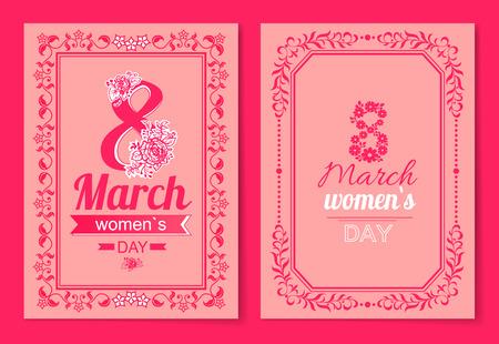 Womens Day Postcard with Big Sign and Swirly Frame Ilustração