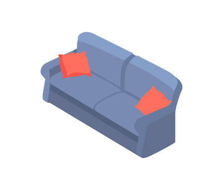 Sofa with Red Pillows 3D Isometric Design Vector