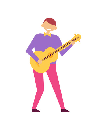 Man Playing on Guitar at Birthday Party Vector Illustration