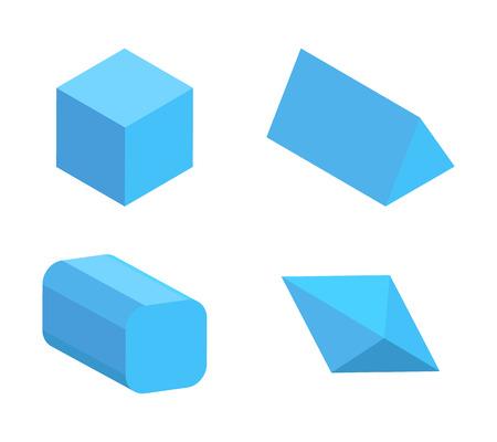 Set of Four Blue Geometric Figures, Color Banner Illustration