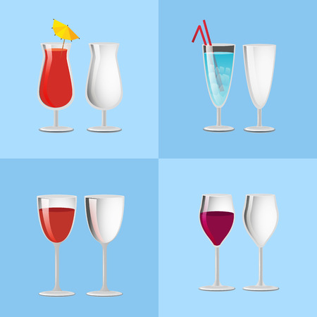 Set Refreshing Cocktails Empty Transparent Glasses 版權商用圖片 - 101965587