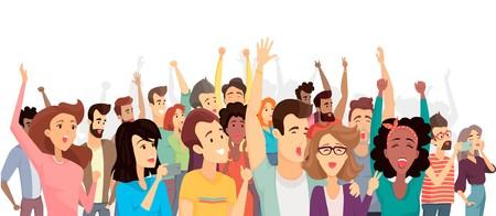 Multitud, de, feliz, gente, cartel, vector, ilustración
