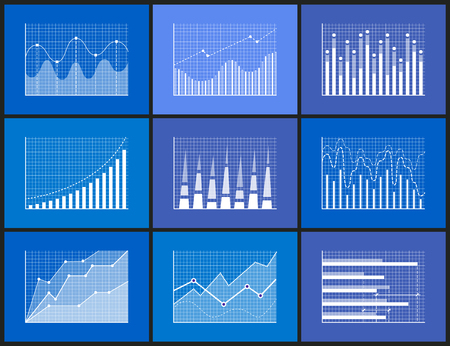 Statistical and Analytical Monochrome Graphics Set 일러스트