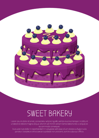 Sweet Bakery Poster Two-Story Cake Covered by Jam Illustration