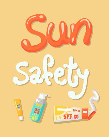 Sun Safety Poster Elements Vector Illustration 向量圖像