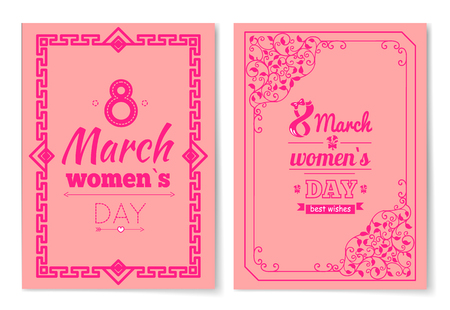 Womens Day Postcard with Big Sign and Swirly Frame Ilustração