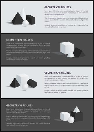 Geometrical Figures Banner Set Vector Illustration Illustration