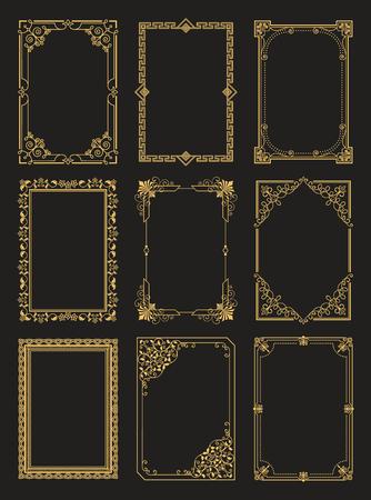 Collection de cadres vintage bordures dorées isolées
