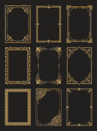 Vintage Frames Collection Golden Borders Isolated Çizim