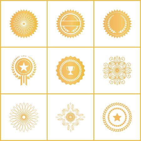 Vector Set Exclusive Golden Stamps Certificate Labels