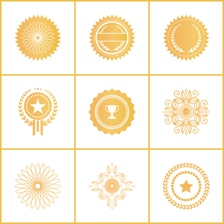 Vector Set Exclusive Golden Stamps Certificate Labels