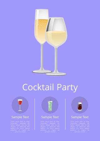 Cocktail Party Menu Advertisement Poster Champagne Çizim