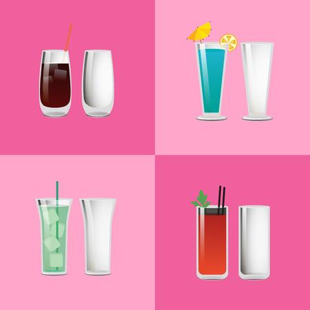 Set Refreshing Cocktails Empty Transparent Glasses