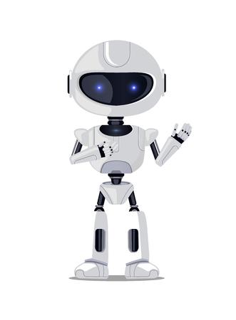 Lovely Robot Isolated on White Vector Illustration