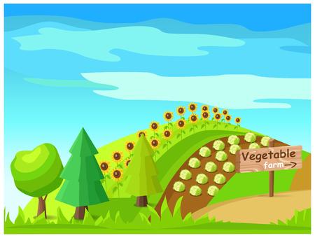 Vegetable Farm Vector with Harvest On Field Ilustração