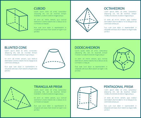 Cuboid and Blunted Prism, Vector Illustration