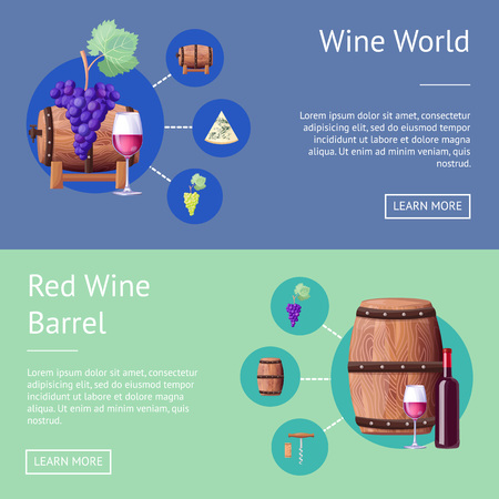 Wine World and Wooden Barrels Internet Pages Set Stok Fotoğraf - 101965621