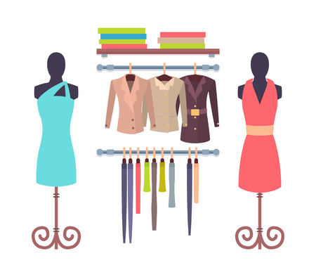 Shop Window in Store for Women Mannequins Dresses 向量圖像