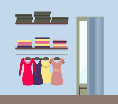 Fitting Room and Womens Clothing Store Shop Window Illustration