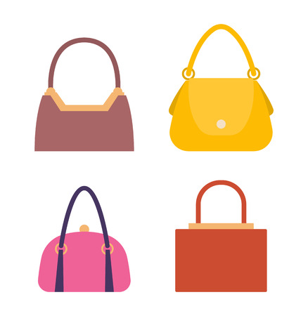 Leather Handbags, Bags with Handles and Locks Set Illustration