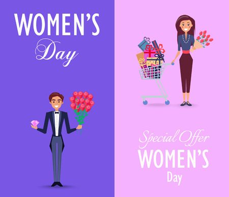 Two Color Cards on Womens Day with Special Offer Illustration