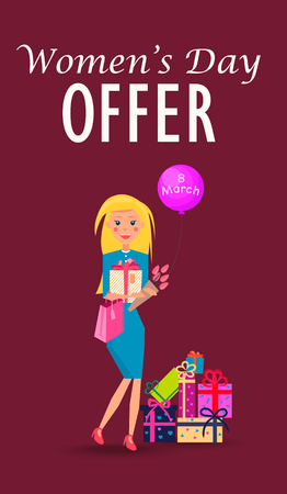 Woman with Purchases on Womens Day Offer Card Illustration