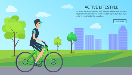 Bright Banner with Happy Biker, Active Lifestyle