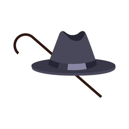 Hat of Black Color with Stick Vector Illustration  イラスト・ベクター素材