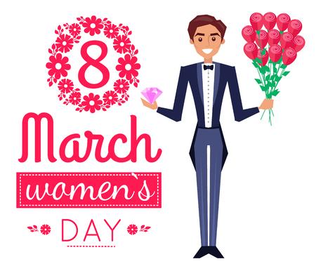 8 March Womens Day Poster Man Vector Illustration Illustration