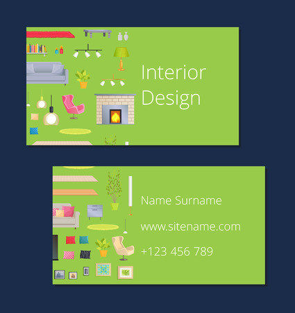 Interior Design Calling Card Vector Illustration