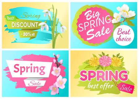 Best Offer Spring Sale Advertisement Labels Flowers