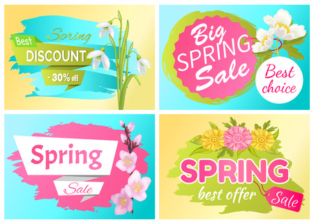 Best Offer Spring Sale Advertisement Labels Flowers