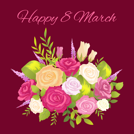 Happy 8 March Promo Poster Vector Illustration