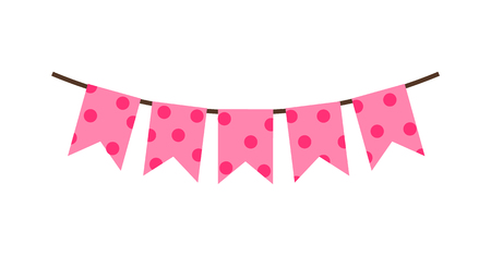 Princess Party Pink Flags Vector Illustration