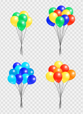 Bunch Helium Colorful Air Balloons Isolated Vector