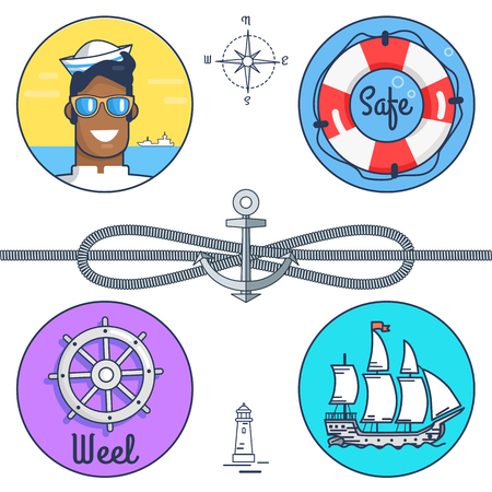 Safe and Wheel Collection Vector Illustration