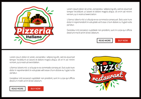 Pizza Restaurant Internet Web Promo Pages Set  イラスト・ベクター素材
