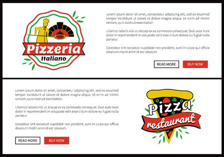 Pizza Restaurant Internet Web Promo Pages Set 일러스트