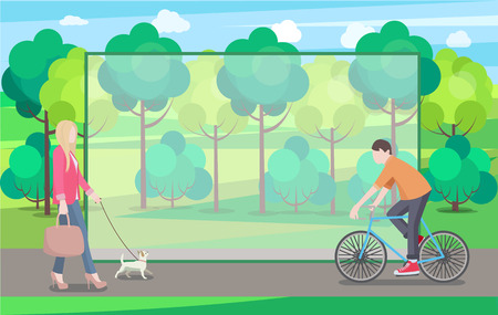 Man on Bike and Woman with Small Dog In Green Park Stock Illustratie